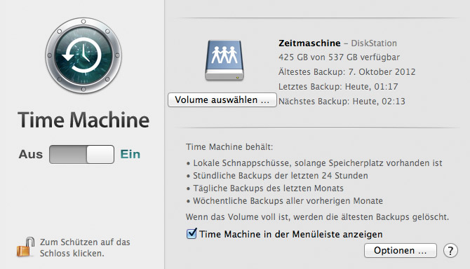 Systemeinstellungen: Time Machine