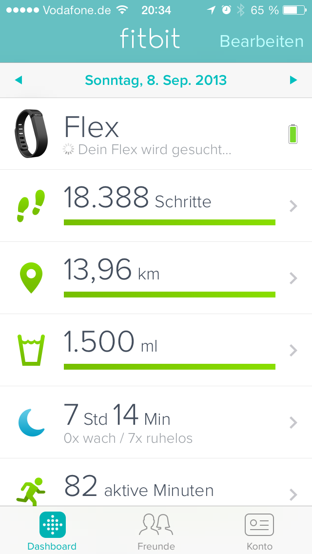Fitbit App auf dem iPhone